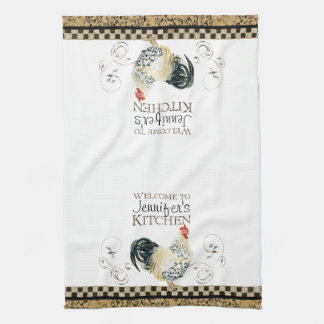 Crowing Rooster Black & Tan Check Swirl Kitchen Towels