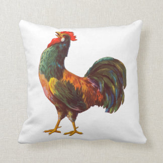 Crowing Rooster Vintage Crate Art Pillow
