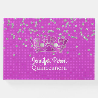 Crown and Diamonds Quinceañera Guest Book
