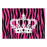 Crown and hot pink and black zebra print thank you