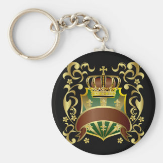 Crown and Shield Basic Round Button Key Ring