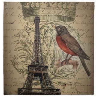 Crown Bird Modern Vintage Paris Eiffel tower Napkin