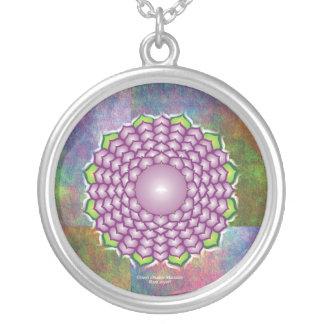 Crown Chakra Mandala Silver Plated Necklace