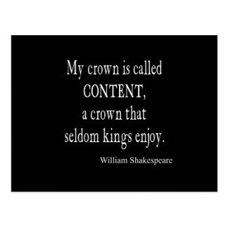 Crown Content Seldom Kings Enjoy Shakespeare Quote Postcard