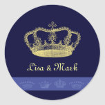 Crown Designs - Blue Round Stickers