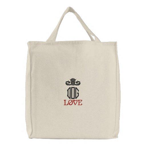 Crown Dog Love Light Embroidered Bag