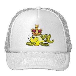 Crown Fish funny cute royal monarch cartoon Mesh Hats