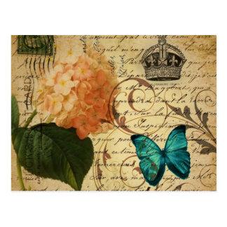 crown French botanical art butterfly hydrangea Postcard