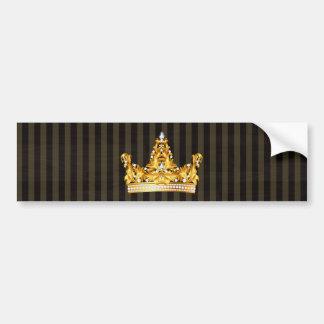 crown gold brown mustard stripes royal noble bumper sticker