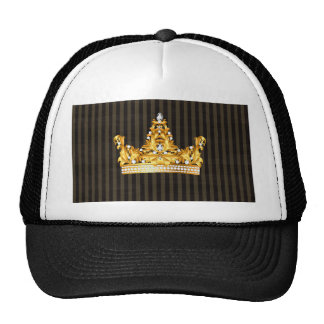 crown gold brown mustard stripes royal noble cap