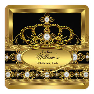 Crown King Prince Queen Royal Gold Diamond Party 13 Cm X 13 Cm Square Invitation Card