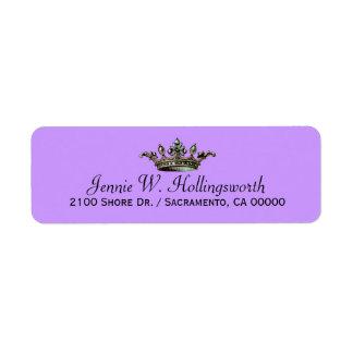 Crown Lavender Girly Return Address Return Address Label