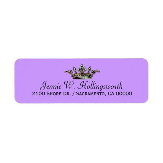 Crown Lavender Girly Return Address Return Address Label