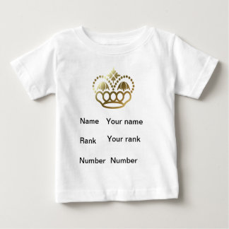 Crown, name, rank, number, baby white shirts