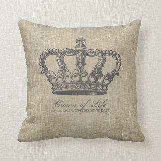 Crown of Life Christian Linen Cushion