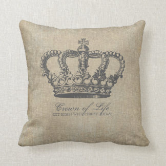 Crown of Life Christian Linen Throw Pillow