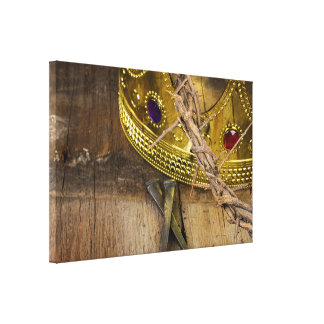 crown of thorns and gold crown with nails canvas print