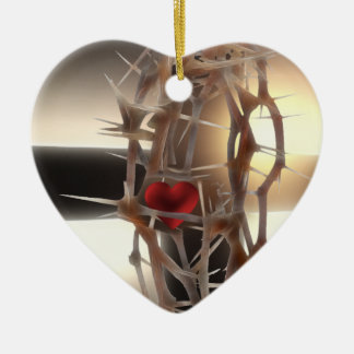 Crown-of-Thorns Ceramic Heart Decoration
