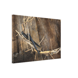 crown of thorns with nails canvas print