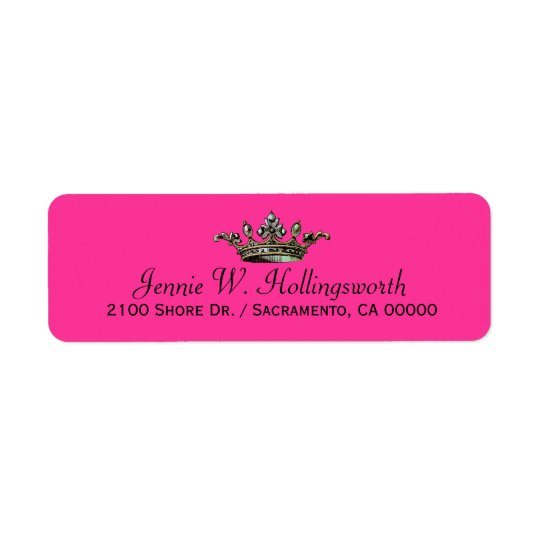 Crown Pink Girly Return Address Return Address Label