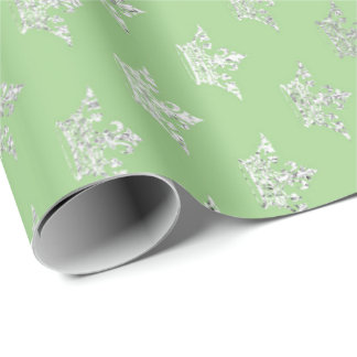 Crown Princess Pastel Mint Green Silver Gray Wrapping Paper