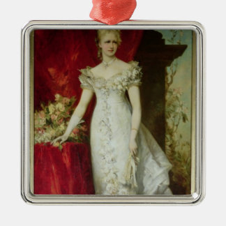 Crown Princess Stephanie of Belgium Silver-Colored Square Decoration