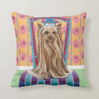 Crown Princess Yorkie Throw Pillow