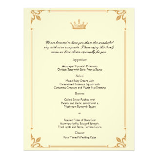 Crown Regency in Gold and Ivory Wedding Menu Flyer Design