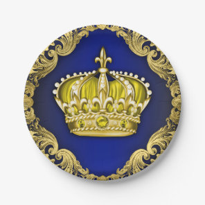Crown Royal Blue Prince Baby Shower Paper Plate