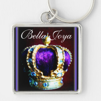 CROWN ROYALTY PURPLE VELVET  ON BLACK Silver-Colored SQUARE KEY RING