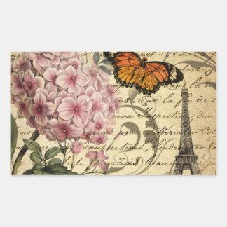 crown script hydrangea bird french botanical rectangular sticker