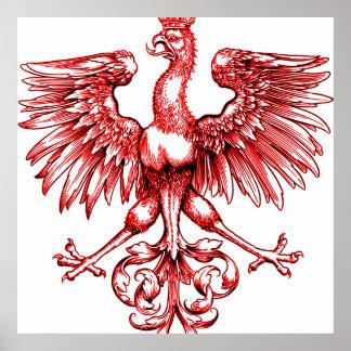 Crown Vintage Red Polish Eagle Art Print Posters