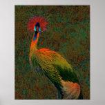 crowned crane print