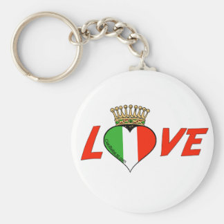 Crowned Italian Love Basic Round Button Key Ring