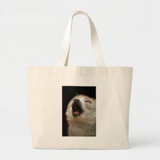 Crowned Lemur Singing Large Tote Bag