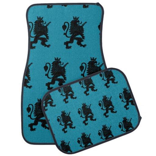 Crowned Lion Black Blue Car Mat