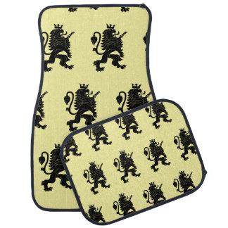 Crowned Lion Black Light Yellow Car Mat