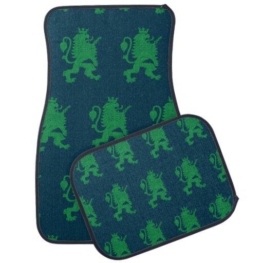 Crowned Lion Green Blue Floor Mat