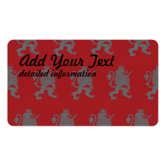 Crowned Lion Grey Red Pack Of Standard Business Cards