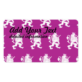 Crowned Lion Magenta white Pack Of Standard Business Cards