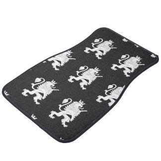 Crowned Lion White Black Car Mat