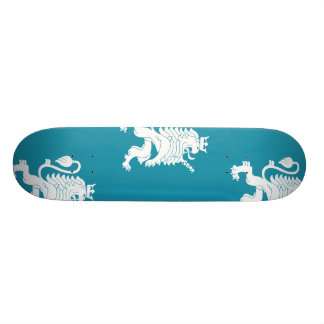 Crowned Lion White Blue Skate Board