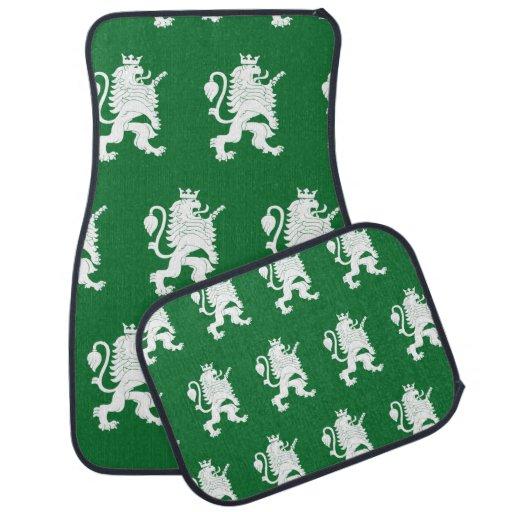Crowned Lion White Green Car Mat