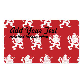 Crowned Lion White Red Pack Of Standard Business Cards