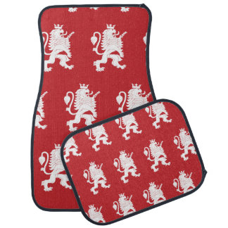 Crowned Lion White Red Floor Mat