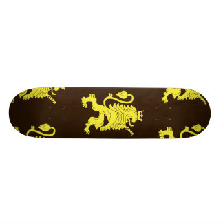 Crowned Lion Yellow Browns Skate Board Deck