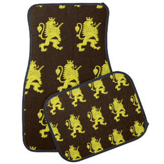 Crowned Lion Yellow Browns Car Mat
