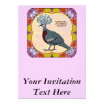 Crowned Pigeon Floral 5x7 Paper Invitation Card