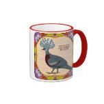 Crowned Pigeon Floral Mug