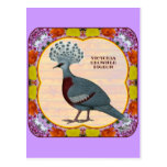 Crowned Pigeon Floral Postcard